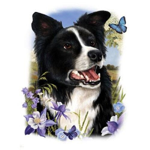 """BORDER COLLIE DOG w FLOWERS on Fabric One 18/""""x22/"""" Panel to Sew.Picture is 9x11/"""""""