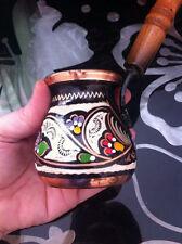 Handmade Copper Turkish Coffee Pot, Cezve,Enamel & Silver Engraved, S size