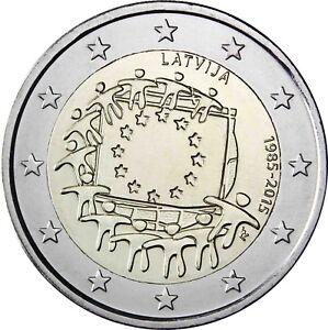 Lettland-2-Euro-30-Jahre-Europaflagge-2015-Gedenkmuenze-Bankfrisch