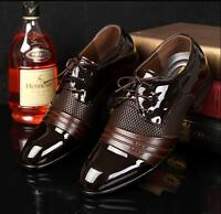New Fashion Mens Dress formal Casual lace up wedding Oxford Shoes black brown X