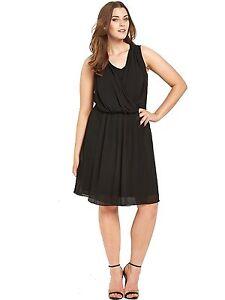 Wrap-Dress-Size-20-Stretch-Black-So-Fabulous-Drape-Front-BNWT
