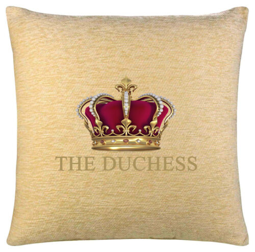 DUCHESS WITH CROWN ON CREAM CHENILLE CUSHION INC PADDING CAN BE PERSONALISED.
