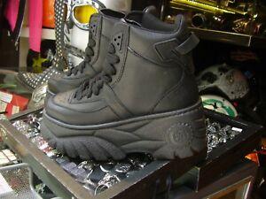 Scarpe-alte-sneakers-suola-alta-platform-Police-883-pelle-nero-black-buffalo