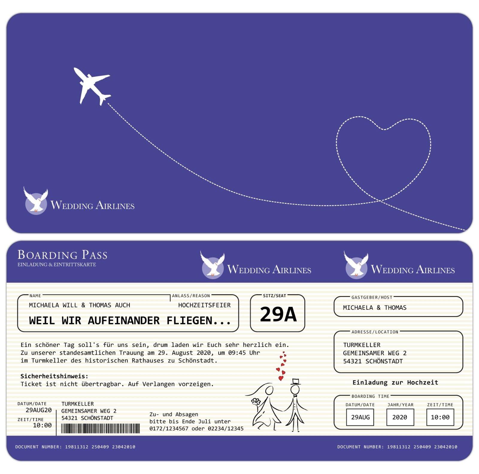 Einladung zur Hochzeit als Flugticket - Einladungskarte - Feier - Fest - Ticket