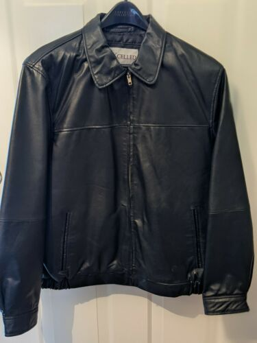 MENS EXCELLED SOFT LEATHER BOMBER JACKET - SIZE M,