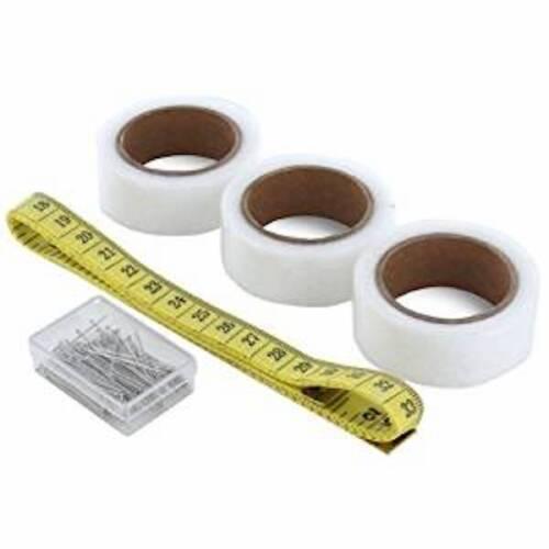 Free Tape Measure /& 100 Pins Hemming Web Iron On Tape Kit 20mm x 4.5M