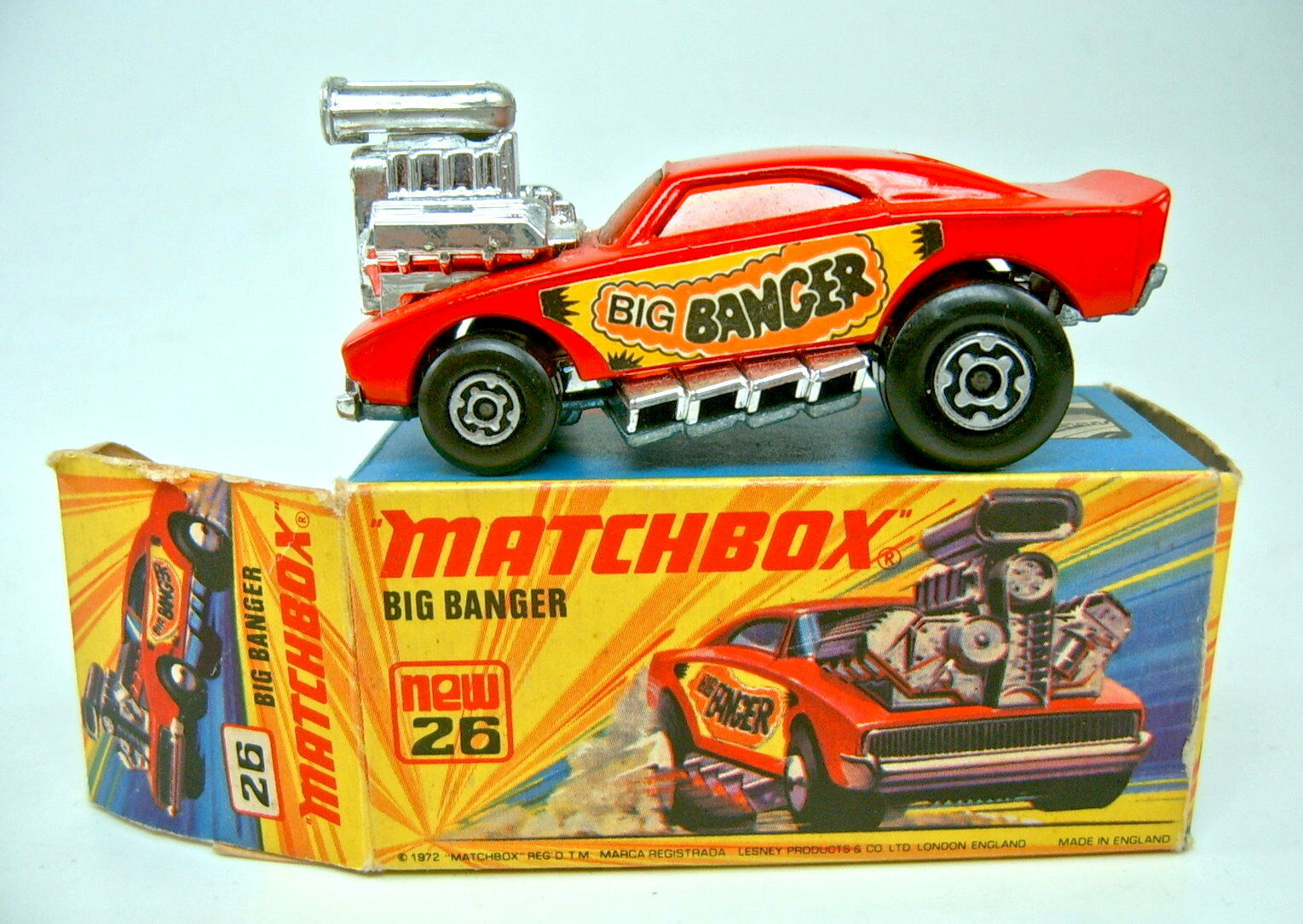Matchbox superfast. große gangster rot - Orange handelt scheiben oben im kasten