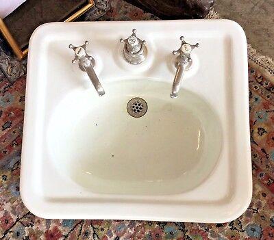 Antico Lavello In Ceramica.Antico Lavandino Liberty Con Rubinetteria Originale Tedesca Ebay