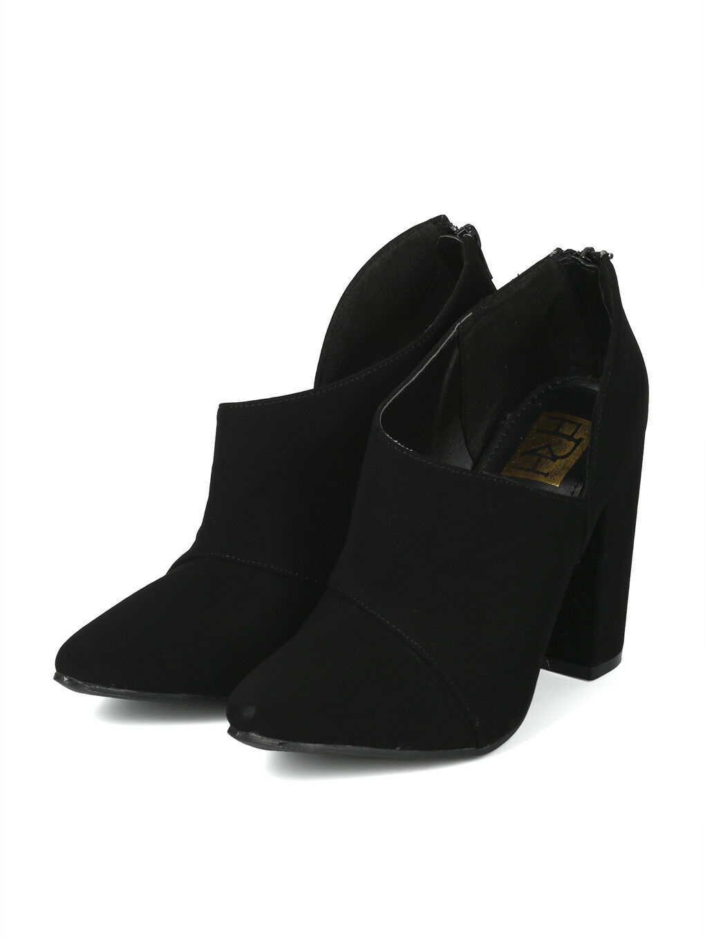Women Pointy Toe d'Orsay Side Cut Out Chunky Heel Sandal Bootie - 18124