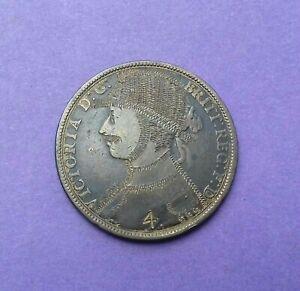 ENGRAVED COIN - 1892 VICTORIA PENNY AS HORSE JOCKEY / FIREMAN