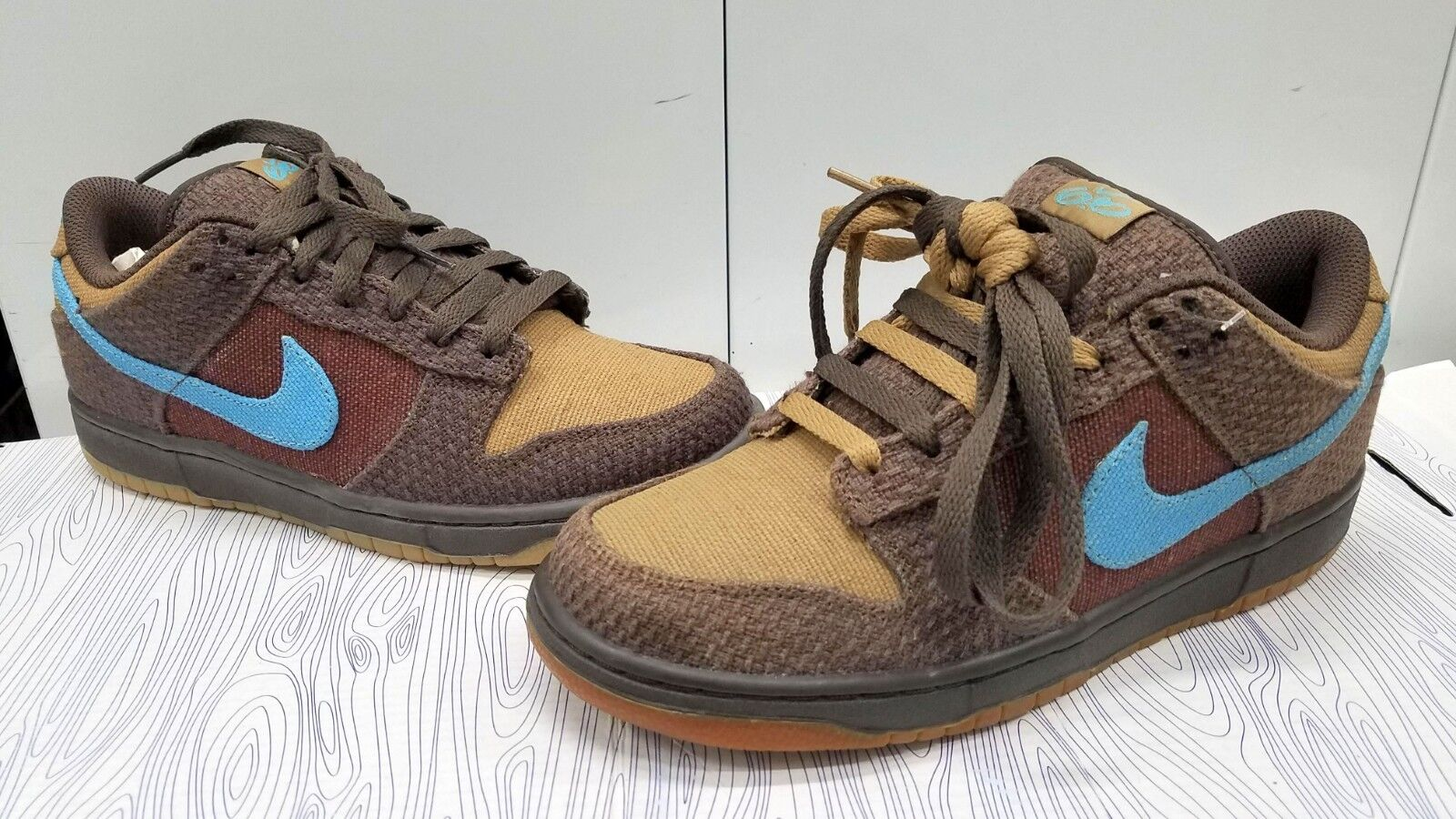 NIKE SB DUNK LOW 7.5 6.0 TWEED MEN'S SIZE: 7.5 LOW BROWN/LATTE/BLUE 314142-205 2010 9d2e6b