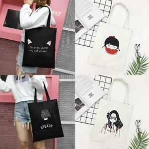 Einfachheit-Canvas-Tote-Bag-Shopper-Shopping-Umhaengetaschen-Wiederverwendbare-v