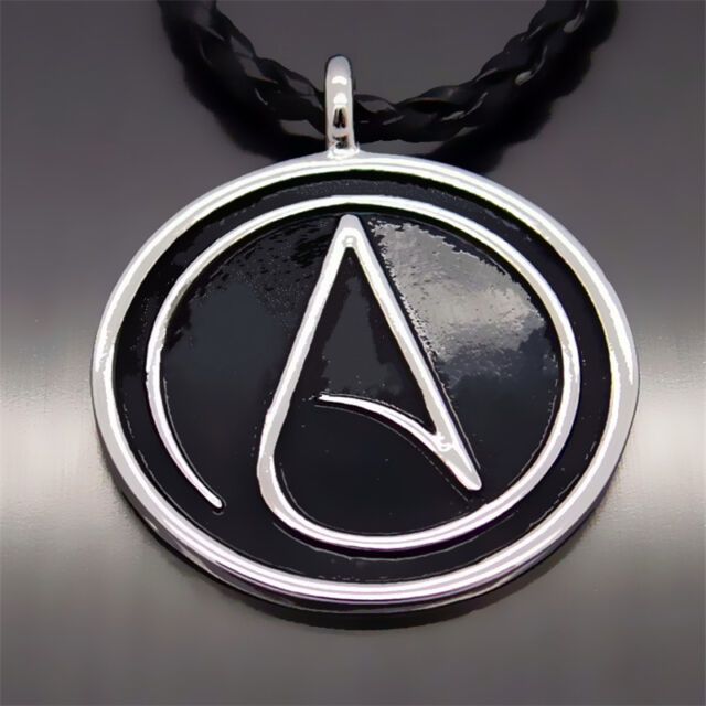 Men Fashion Atheist Atheism Symbol Silver Pewter Pendant With 20