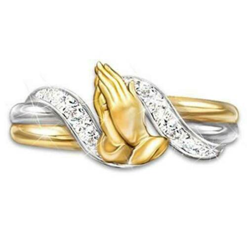 Two Tone Praying Hand Gold Plated Rings for Women White Sapphire Ring Size 6-10