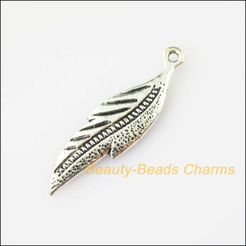 6Pcs Antiqued Silver Tone Lovely Leaf Charms Pendants 9x33mm