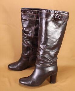 5S-Belmondo-Damen-Stiefel-Slouch-Boots-Leder-braun-Gr-38-hoher-Absatz