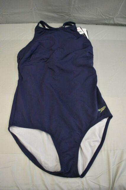 Speedo High Neck One-Piece Peacoat Swimwear - Women's Size 10 - Blue