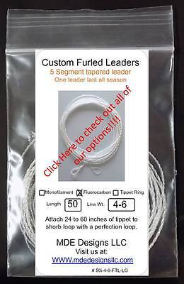 Custom Monofilament Furled Leader 68 Inch 4-6 WT Tippet Ring Clear