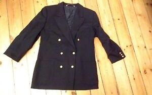 St-Michael-size-14-navy-blue-double-breasted-jacket-VTG-retro-80s-Regiment