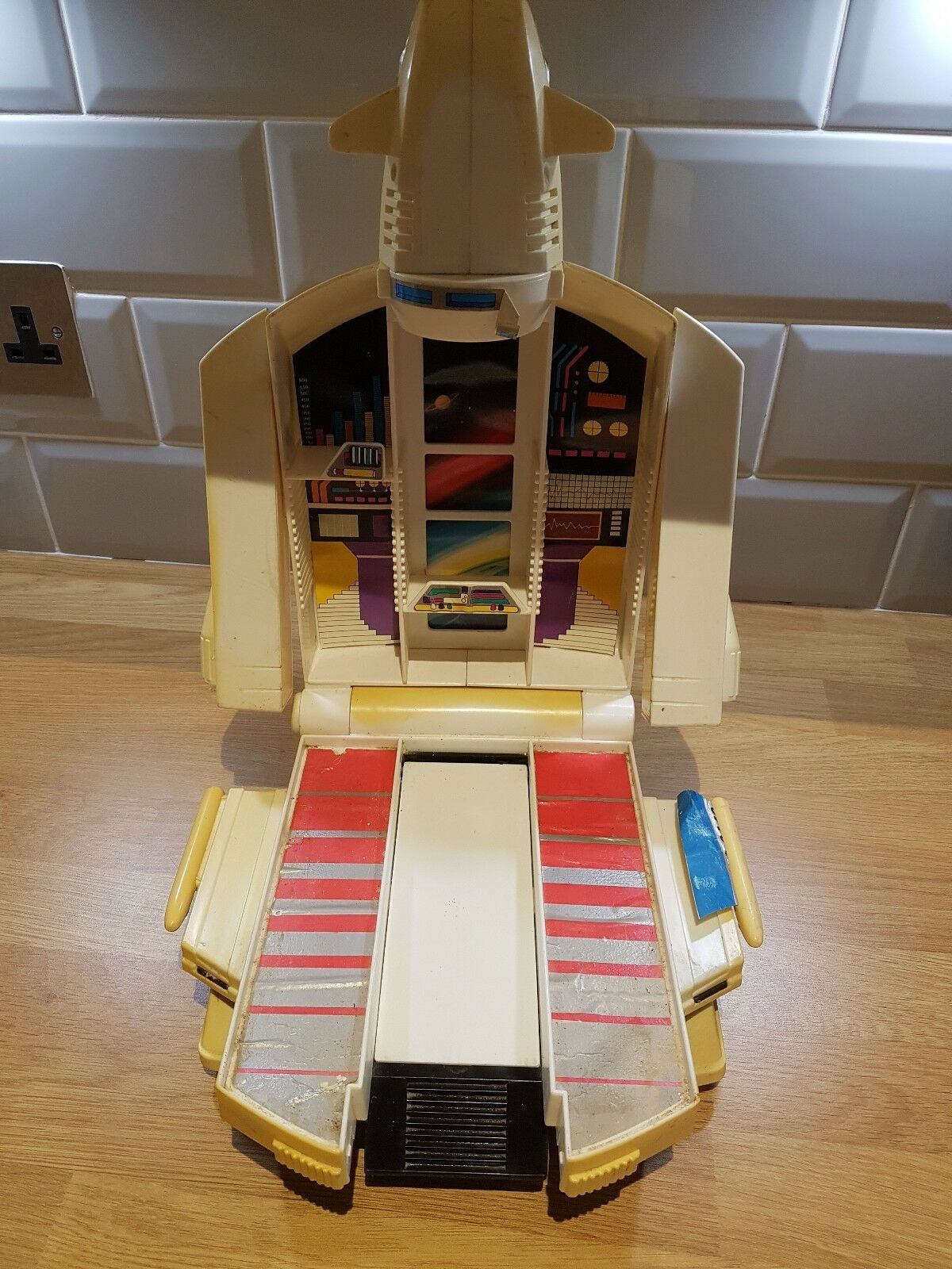 VINTAGE blueE-BOX GOBOTS (GO BOTS) ANDRO BASE AND AND AND SPACE SHUTTLE CARRY CASE 3941e1