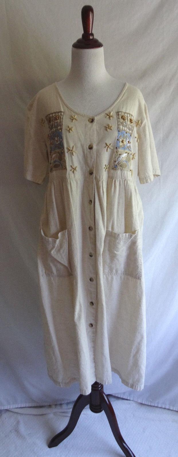 Go Softly Patio MED Ivory Cotton Flax Beaded Embroiderot Muu Lounge House Dress