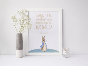 Image Is Loading Peter Rabbit Nursery Print Picture Even The Smallest