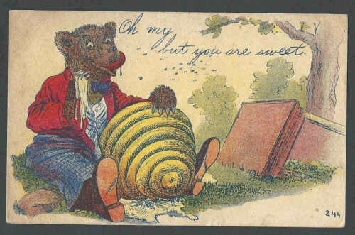 1910 PPC Oh My But You Are Sweet Bear Eating Honey Comb Posted