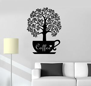 Vinyl Decal Coffee Beans Shop Tree Kitchen Decor Wall Stickers Mural