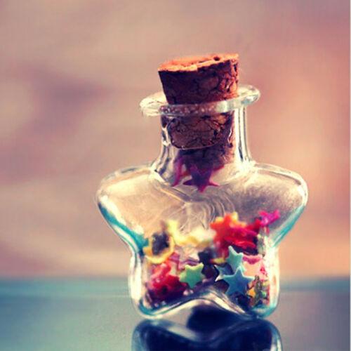 10x Mini Transparent Wishing Bottles Pendant Clear Small Glass Bottles Jars Cork