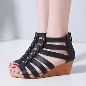 Details about Womens Zip Roman Wedge Mid Heel Solid Sandals Open Toe Fashion Casual Shoes Size