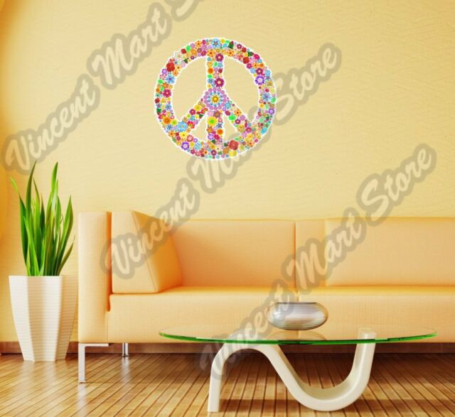 Peace Symbol Hippie Love Floral Colorful Wall Sticker Room Interior Decor 22/""