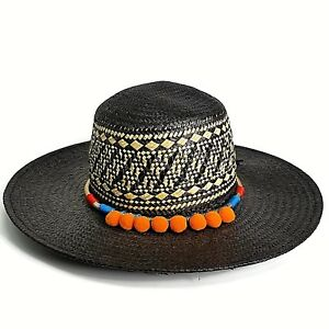 96066ef61 Details about San Diego Hat Company Co Womens Woven Braid Sun Hat Black  Gold Band Pom Poms NWT
