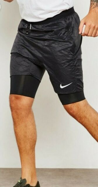 NEW MENS XL NIKE FLEX STRIDE ELEVATE BLACK RUNNING SHORTS 2 in 1 928457 010
