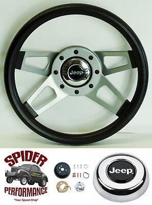 """1986-1995 Jeep Wrangler Commanche steering wheel 13 3//4/"""" SILVER SPOKE"""
