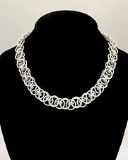 Sterling Silver 17 1/2 inch Celtic Line Chainmaille Necklace - Thick and Weighty