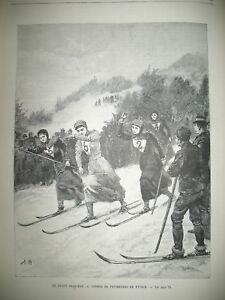 AUTRICHE-COURSE-SKI-DE-FOND-EXPULSION-CHAMBRE-DePUTe-THIVRIER-GRAVURES-1894