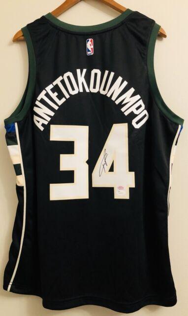 3cc6e76a5 Giannis Antetokounmpo Milwaukee Bucks Nike Statement Black Swingman Jersey  XXL