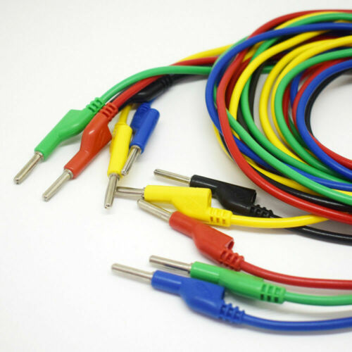 1set 5 colors 2M Silicone High Voltage Dual 4mm Banana Plug Test Leads Cable