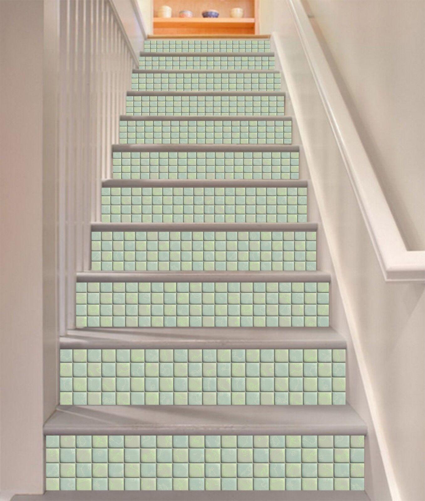 3D Grne Textur 7 Fliese Marmor Stair Risers Fototapete Vinyl Aufkleber Tapete