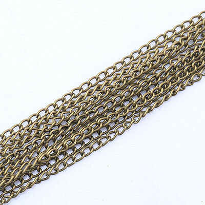 5m/100m Antique Silver/Gold Curb Open Link Chain Metal For Craft Jewelry Making