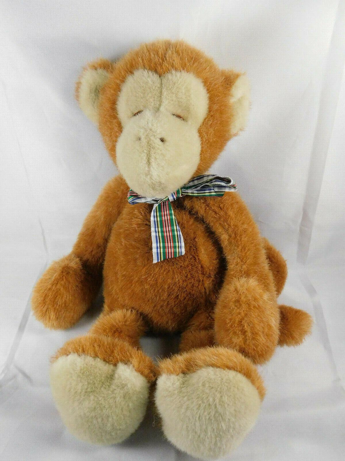 Manhattan Toy Company Monkey Vintage Plush 1987 Sleeping Marronee Tan 18  Tall