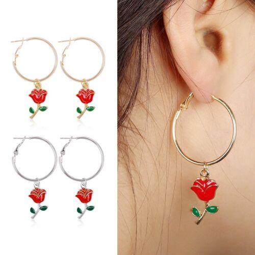 Women Girls Rose Flower Oil Green Leaves Circle Earring Alloy Drop Hoop Earrings