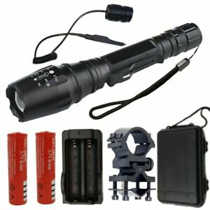 Bright T6 LED Flashlight Military Zoomable Torch 5 Modes Light Bright Lamp Set