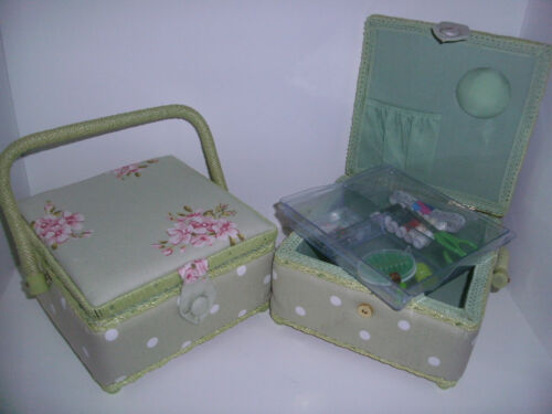 Hobby gift-sewing essentials-small-polka dot en tissu à coudre boxes-filled