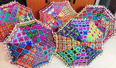 BNWT Hand Made Rajasthani Embroidered and Mirrored Cotton Parasol