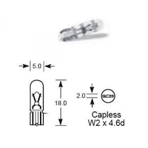 2 X Lucas Capless Panel Bulbs 501 LLB501 12v 5W Side Light Number Plate Ford
