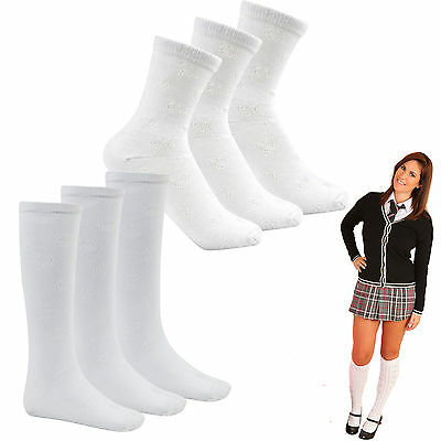 6 PAIRS Older Girls Kids Plain Cotton Rich Knee High School Socks With Bow