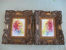 "Lot of 2 Vintage Oil Painting Child Portrait ""Karim"" Signed- Gold Framed"