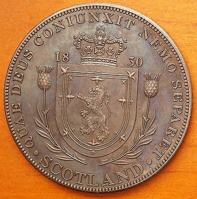 1830 Scotland Retro Pattern Proof Crown Bronzd Copper William IV Scottish Shield