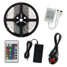 5M SMD 5050 RGB 150/300/600 LED Strip Lights IR Remote UK Adapter Waterproof Kit